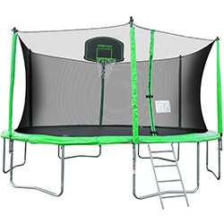 Merax 14 Feet Round Trampoline with Safety Enclosure, Basketball Hoop and Ladder