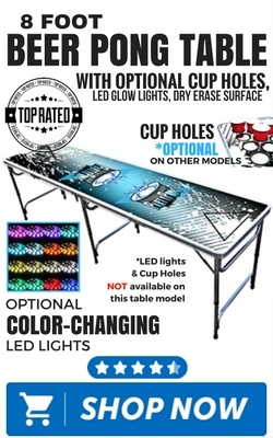 8 Foot Beer Pong Table with Optional Cup Holes, LED Glow Lights, Dry Erase Surface