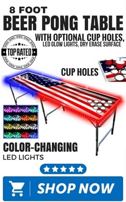 8Foot Beer Pong Table with Optional Cup Holes, LED Glow Lights, Dry Erase Surface
