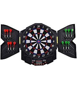 Goplus Professional Electronic Dartboard Cabinet Set Dartboard Game Room LED Display