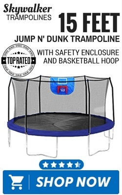Skywalker Trampolines 15 Feet Jump N' Dunk Trampoline with Safety Enclosure and Basketball Hoop
