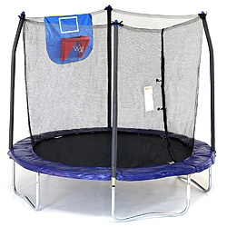 Skywalker Trampolines 8 Foot Jump N' Dunk Trampoline with Safety Enclosure and Basketball Hoop