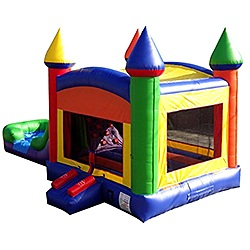 Rainbow WetDry Bounce House with Slide and Climbing Wall Combo