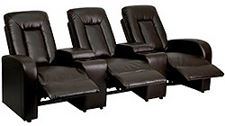 3 Seat Home Theater Recliner with Storage Consoles